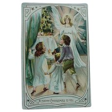 Tucks & Son Christmas Postcard Kids And Angels