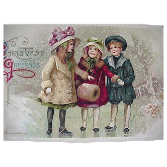 John Winch Embossed  Christmas Postcard Kids Nicely Dressed