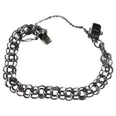 Sterling Silver Double Link Charm Bracelet Stamped American Sterling