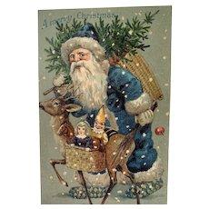 Santa In Blue Suit Christmas Postcard