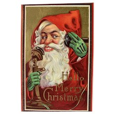 Hello Merry Christmas Postcard Santa On The Phone