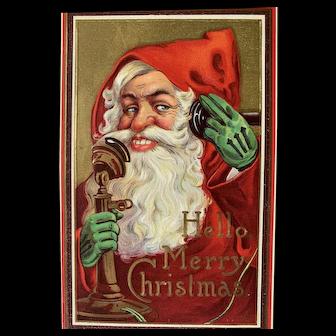 Hello Merry Christmas Postcard Santa On The Phone