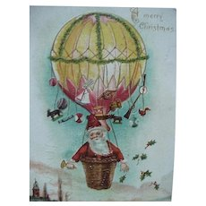 Santa In Hot Air Balloon Postcard