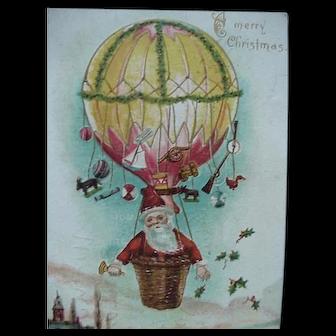 Santa In Hot Air Balloon Postcard