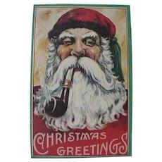 Santa Smoking His Pipe Postcard Christmas Greetings