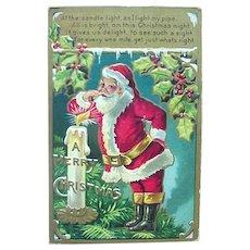 Santa Lighting His Pipe Postcard