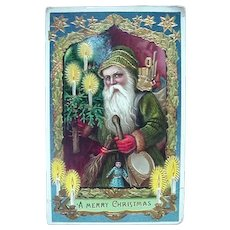 Green Robe Santa Gel Postcard Gold Gilt Accents