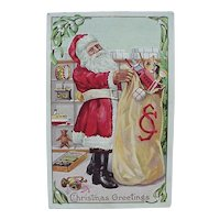 Santa Holding Toy Bag Embossed Postcard