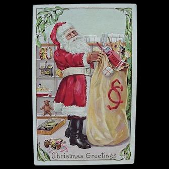 Santa Holding Toy Bag Embossed Postcard