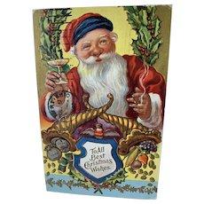Santa Smoking Cigar And Toasting Embossed Postcard