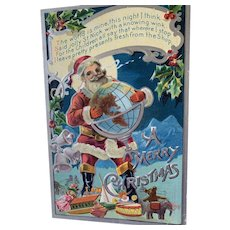 Embossed Christmas Postcard Santa Holding Globe