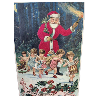 German Cloth Santa Postcard In Forest With Cherubs