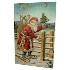 Embossed Santa On Snowshoes Christmas Postcard
