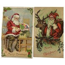 Merry Christmas Santa Postcard Lot of 2