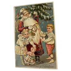 Santa With Children And Toys Postcard