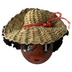 Black Americana Lady Wearing Hat Pin Brooch