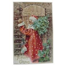 Santa Knocking On Door Christmas Postcard