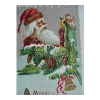 A Merry Christmas Dec 25 Santa Postcard