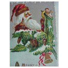 A Merry Christmas Dec 25 Santa Postcard
