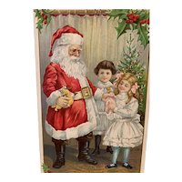 Santa Presenting Toys To Children Embossed Christmas Postcard