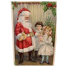 Santa Presenting Toys To Children Embossed Christmas Postcard