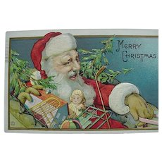 Embossed Santa in Sleigh And Toys Christmas Postcard