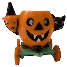 Rosbro Halloween Pull Toy Candy Container Witch Cat Pumpkin