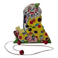 Old Time Fanny Farmer Clown Candy Container Pull Toy With Box 1950s