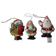 Hallmark Vintage Cloth Santa Ornament 1970 lot of 3