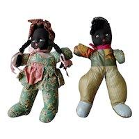 Black Americana Oil Cloth Doll Boy Girl 1940s