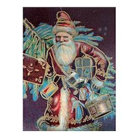 Father Christmas Santa In Hurry To Make Delivery Incised Postcard