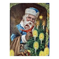 Santa In Blue Robe  Postcard