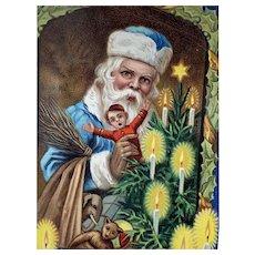 Santa In Blue Robe  Postcard