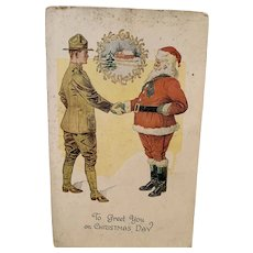 WW1 Soldier Shaking Hands With Santa Postcard 1918