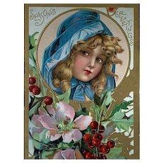 Season's Greeting Pretty Girl Christmas Postcard