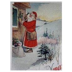 Santa Hanging Holly Postcard Bag On Ground American Flag