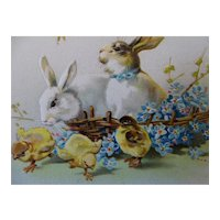 Easter Greeting Postcard Rabbits And Chicks