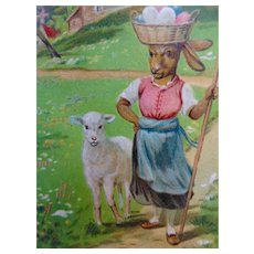 Rabbit Dressed With Basket On Head Easter Postcard