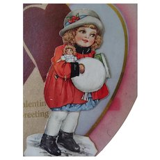 Valentine Stand Up Card Girl Holding Doll Valentine Greetings