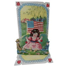 Girl Holding Flag Pop Up Valentine Card With Military Dolls