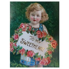 To My Sweetheart Postcard Sweet Face Girl Holding Sign