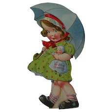 Vintage Mechanical Valentine Card Girl Holding Doll And Umbrella