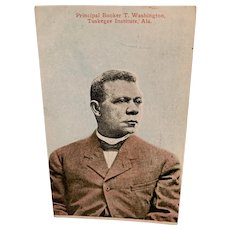 Black Americana Postcard Booker T Washington