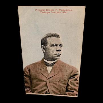 Black Americana Postcard Booker T Washington
