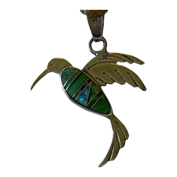 Hummingbird Sterling Silver Necklace With Turquoise Inlay