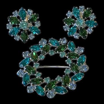 B. David Blue And Green Rhinestone Brooch And Earring Set
