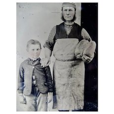 Occupational Tintype Father And Son Baker