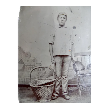 occupational Tintype Young Man Baker With Bread In Chair
