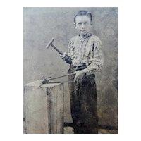 Young Boy Blacksmith Tintype With Tools