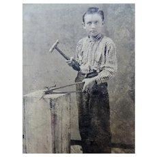 Young Boy Blacksmith Tintype With Tools